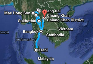 Thailand Map itineraire